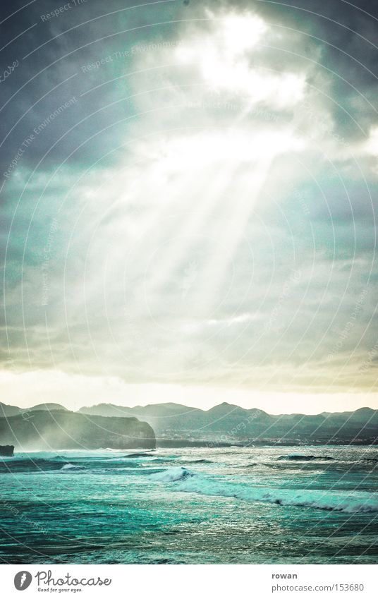 Sky Sun Ocean Green Blue Clouds Dark Dream Coast Waves Beginning Light Threat Religion and faith Uniqueness Longing