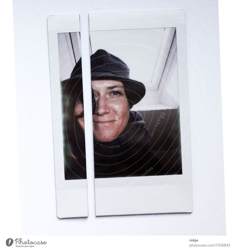 Self Portrait Polaroid Woman Adults Life Face 1 Human being 30 - 45 years Hat Smiling Exceptional Friendliness Picture-in-picture Cut Divided Colour photo