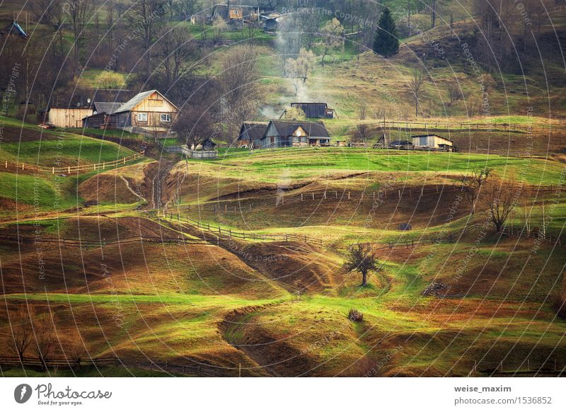 Foggy spring morning in mountain village. Fields and hills Nature Vacation & Travel Green Tree Landscape House (Residential Structure) Forest Mountain Yellow