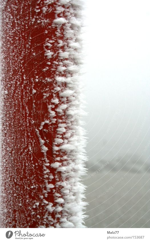 Don't lick it. Iron Ice Frost Crystal structure Snow Cold Pole Frozen Red White Solidify Blur Contrast Winter