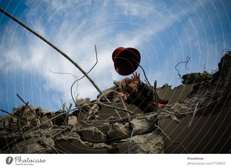 cap player Decline Dismantling Hat Construction site Concrete Wire Broken Dangerous Discover Edge Tobacco products Derelict Art Culture Woman Advancement