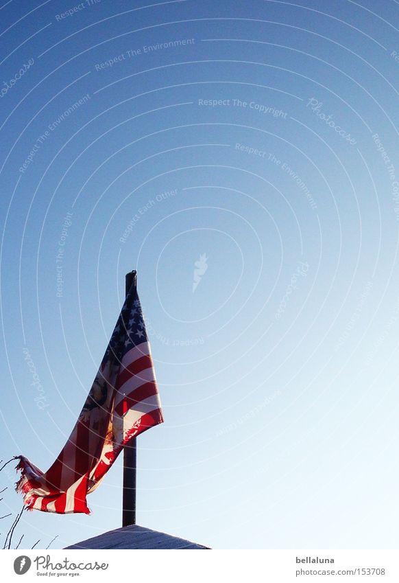 Sky Blue White Red Roof USA Flag Americas American Flag Flagpole Blue sky Cloudless sky