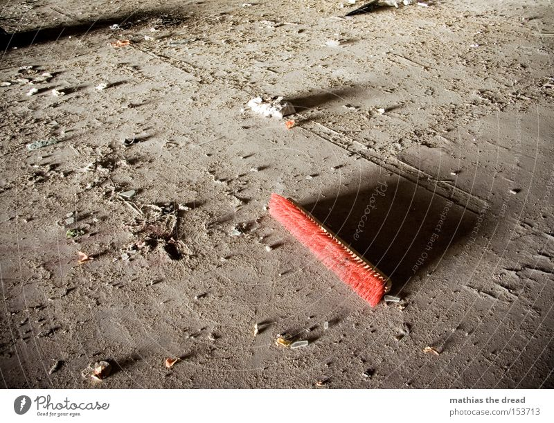 CLEAN. Broom Bristles Red Broken Dirty Dark Floor covering Ground Dust Shadow Shaft of light Loneliness Deserted Building rubble Still Life Derelict