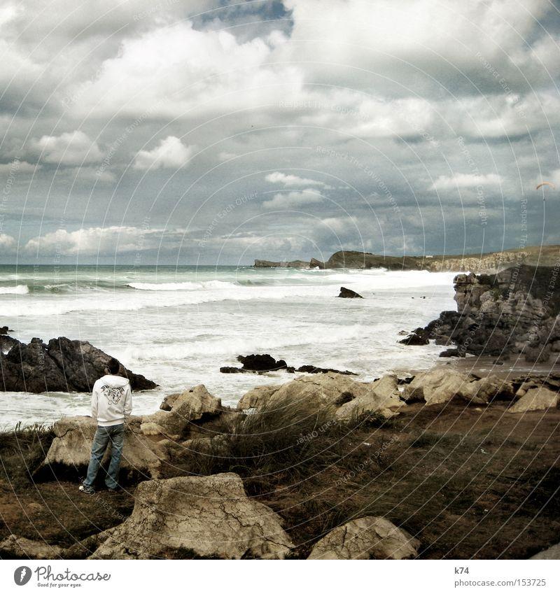 Beach Coast Waves Wait Break Surf Stagnating Late Rocky coastline