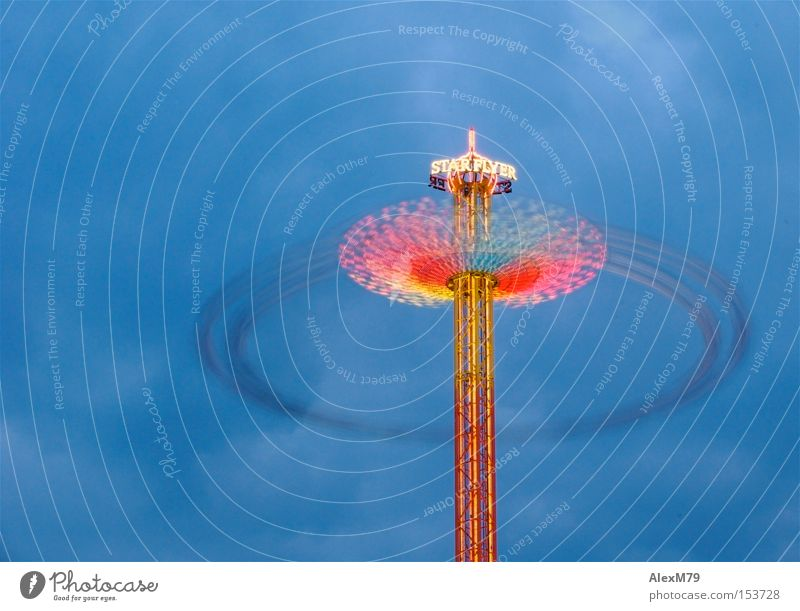 Star Flyer Fairs & Carnivals Twilight Speed Chairoplane Multicoloured Long exposure Electrical equipment Technology Movement