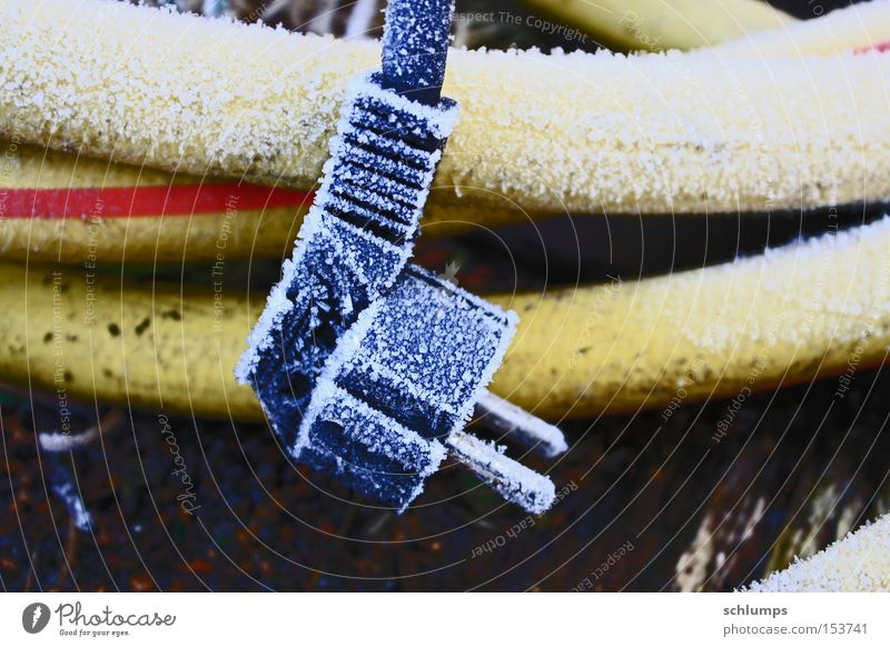 steckerle Hoar frost Frost Winter Connector Technology Electricity Well Yellow Black Plastic dead things Power plug