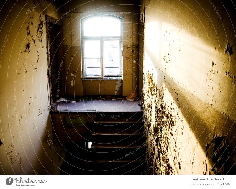 Beautiful Old Colour Window Dye Line Room Dirty Empty Industry Stairs Shabby Bursting Shaft of light