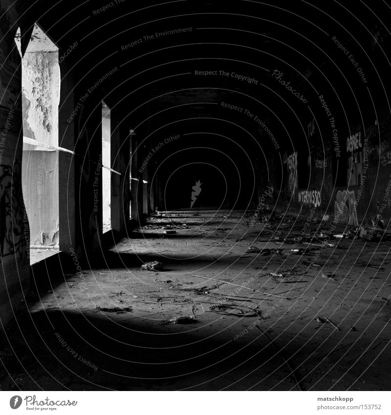 Home, sweet Home Black & white photo Decline Derelict Shadow Dirty Untidy Loneliness Shaft of light Corridor Oppressive Creepy