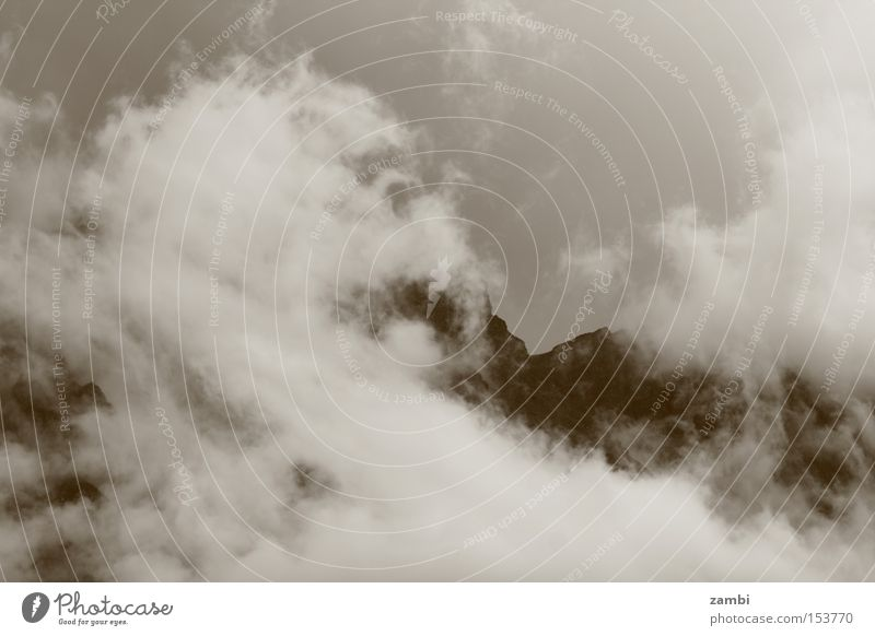 Clouds Mountain Rain Landscape Moody Fog Weather Sepia Vail Monochrome Bad weather Wall of fog