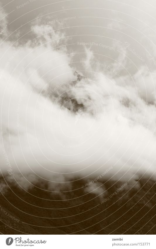 Clouds Autumn Mountain Rain Landscape Moody Fog Weather Sepia Vail Monochrome Bad weather Wall of fog