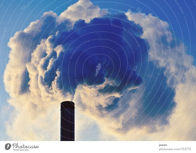 Sky Nature Environment Tall Climate Threat Industry Beautiful weather Round Many Factory Smoke Environmental protection Exhaust gas Chimney Climate change
