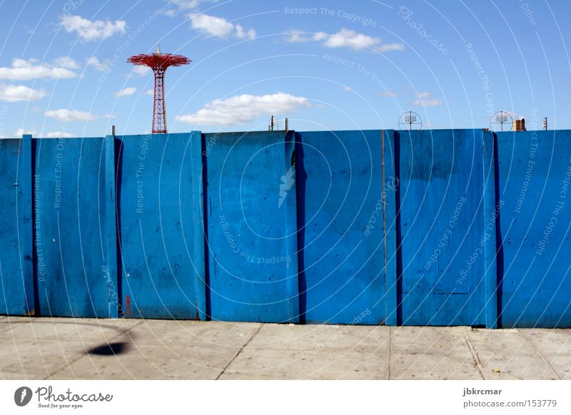 Coney Island Autumn Amusement Park New York City USA American Flag Fence Attraction Americas Leisure and hobbies Loneliness Empty Derelict