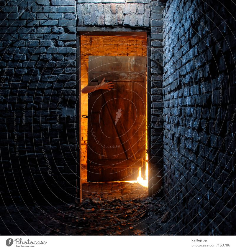 crunchy, crunchy, crunchy Human being Arm Poverty Parts of body Door Light Room Warmth Cold Wall (barrier) Brick Hut Wood Accommodation Fairy tale Creepy