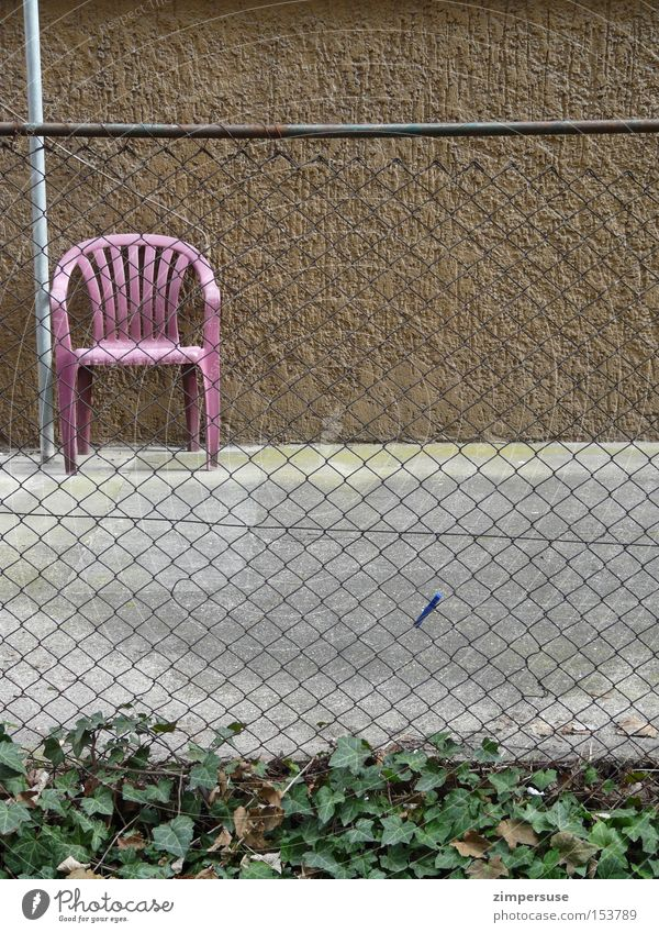 Loneliness Gray Brown Empty Chair Boredom Backyard Ivy Clothes peg Front garden Wire netting fence Wire netting Garden chair
