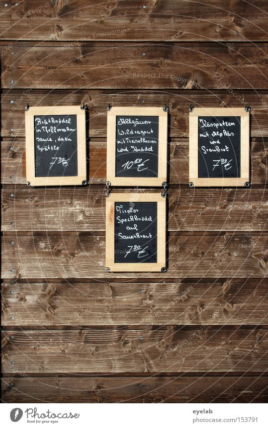 Panelling - Who has the choice, has the agony ! Dish Nutrition Wall (building) Wood Chalk Frame Handwriting Typography Wall panelling Gastronomy Detail