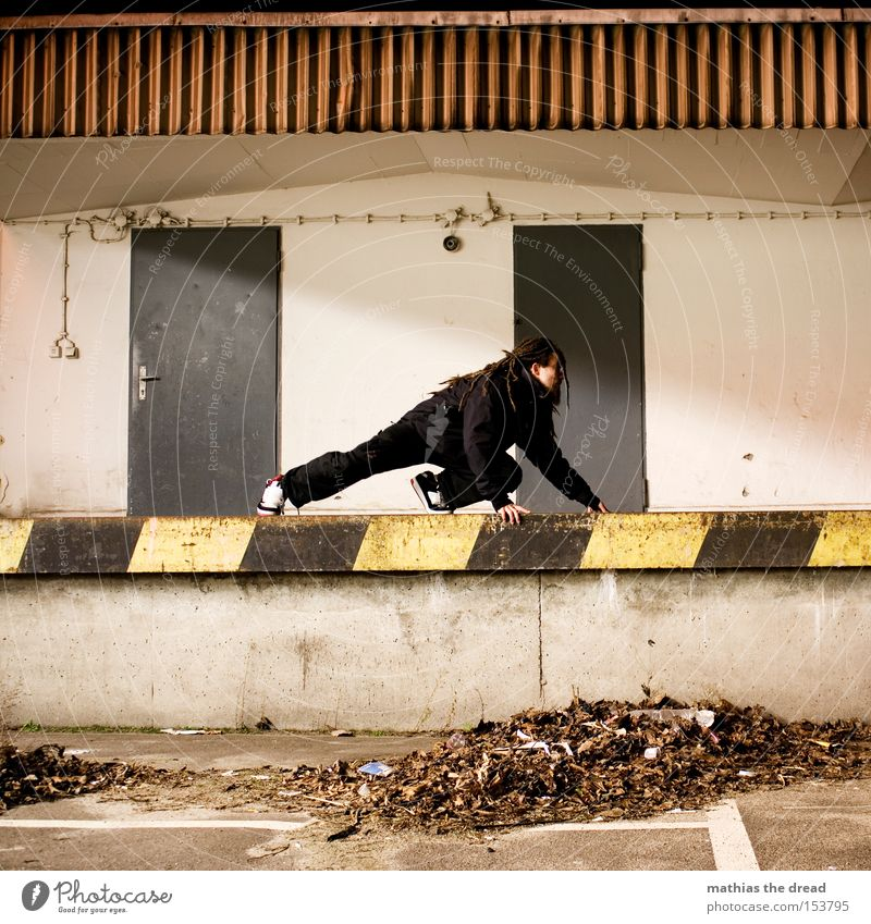 Man Leaf Loneliness Colour Street Cat Dye Line Door Facade Mysterious Traffic infrastructure Warning label Parking lot Ramp Warning sign