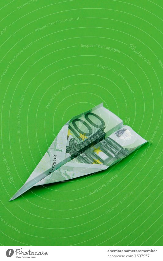 Euro-Fighter 100 Art Work of art Esthetic Green Grass green Euro bill Money Financial Crisis Business Capitalism Financial Industry Economy Airplane Might