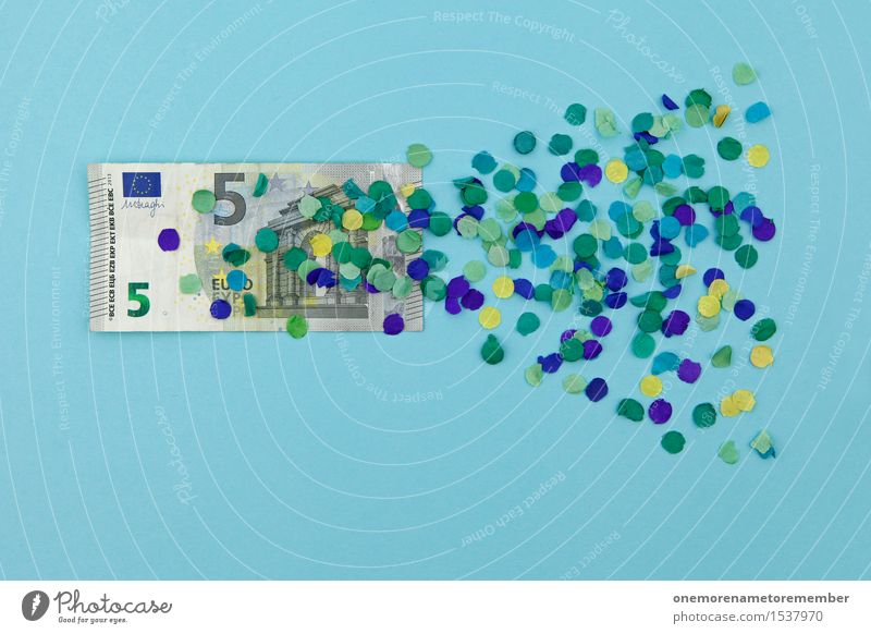 I offer 5 Euro! Art Work of art Esthetic Financial Crisis Value Cheap Estimation Europe Euro symbol Europe Day Euro bill Blue Confetti Graphic Design Money