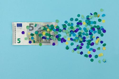 I offer 5 Euro! Art Work of art Esthetic Financial Crisis Value Cheap Estimation Europe Euro symbol Europe Day Euro bill Blue Confetti Graphic Design Money