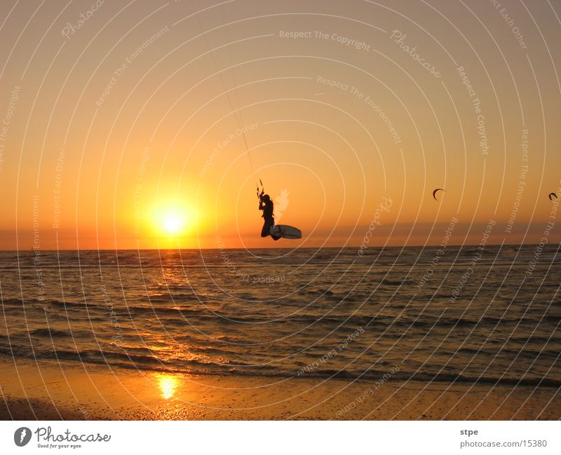 Nightsurfing Kitesurfers Sunset Ocean Waves Beach Sports kitesurfer Flying Evening