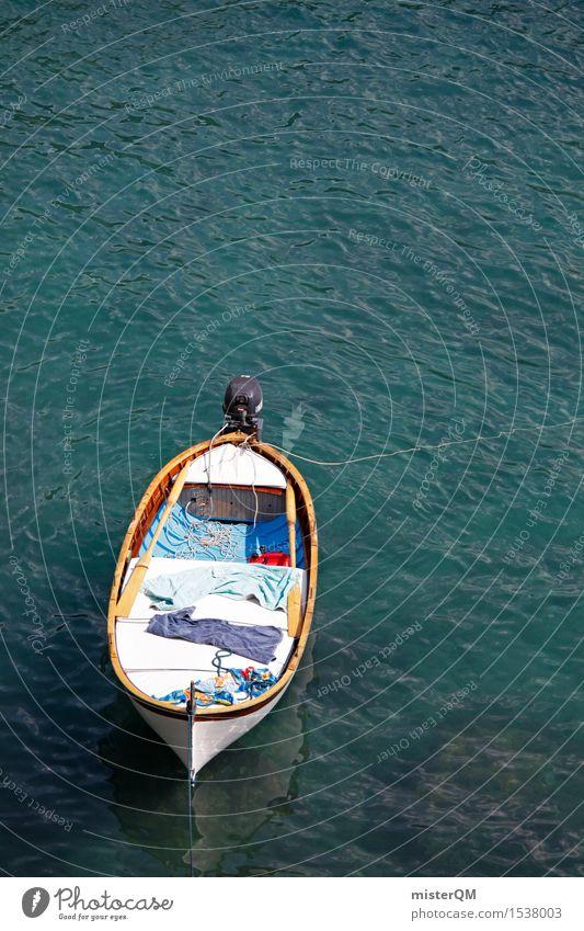On a boat! Art Work of art Esthetic Watercraft Botany Summer vacation Idyll Drop anchor Ocean Coast Harbour Colour photo Multicoloured Exterior shot