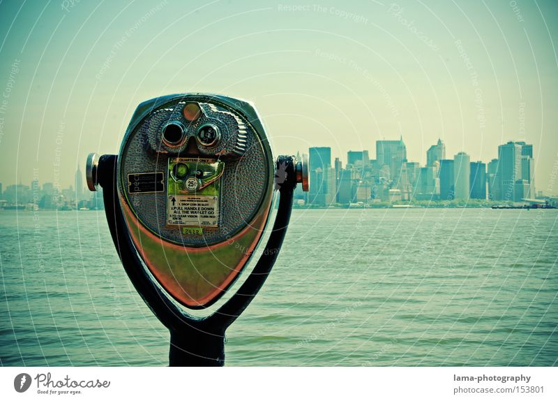 Ocean Large High-rise Future Technology USA Vantage point Looking Americas Skyline New York City Manhattan Binoculars Telescope Advancement City trip