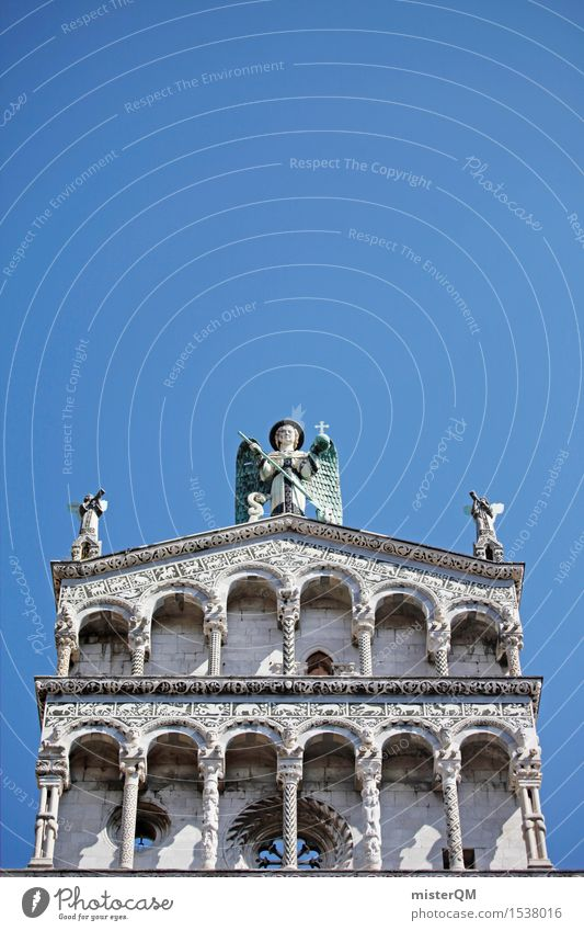 White tower of blue. Art Work of art Esthetic Building Part of a building Complex of buildings Tower Italy Tuscany Blue Old building Historic Tourist Attraction