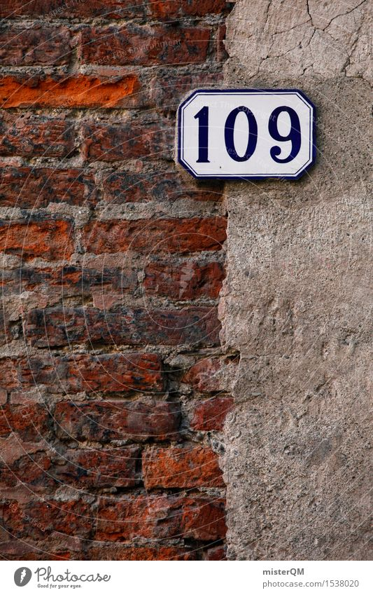 109. Art Work of art Esthetic Digits and numbers House number Brick Wall (building) Facade Colour photo Multicoloured Exterior shot Experimental Abstract
