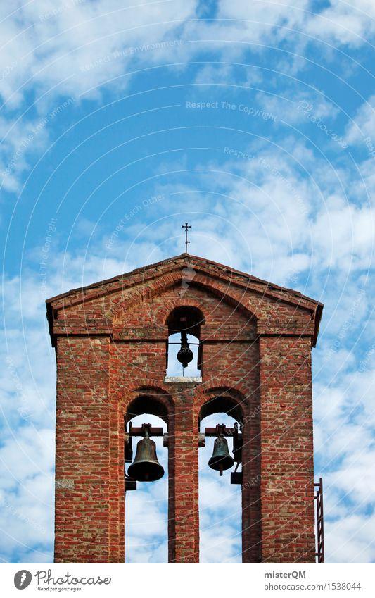 Tuscany Tower. Art Esthetic Architecture Mediterranean Church Church congress Church bell Church spire Brick Red Blue Italy Colour photo Multicoloured