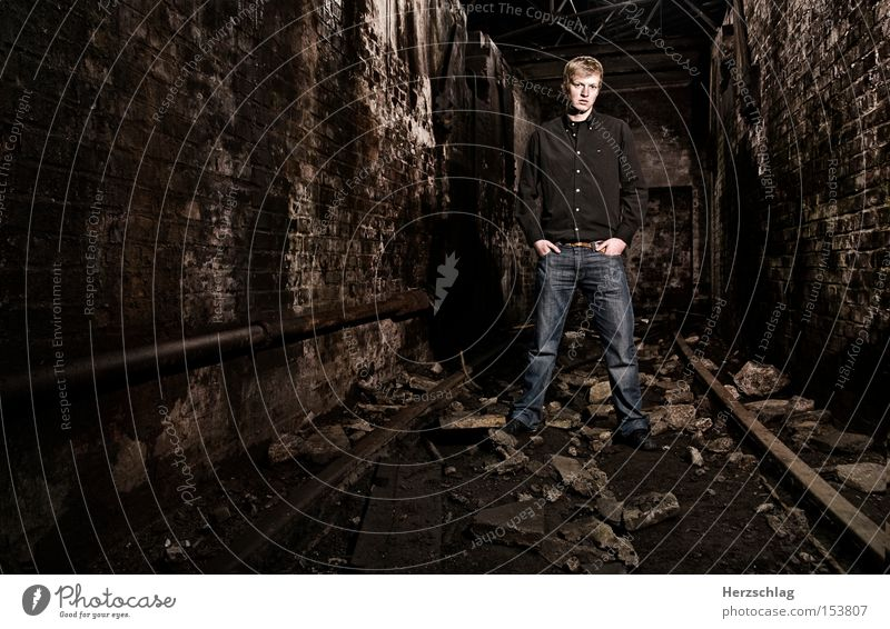 Man Dark Stone Wall (barrier) Fear Might Bathroom Strong Egotistical Boast Macho