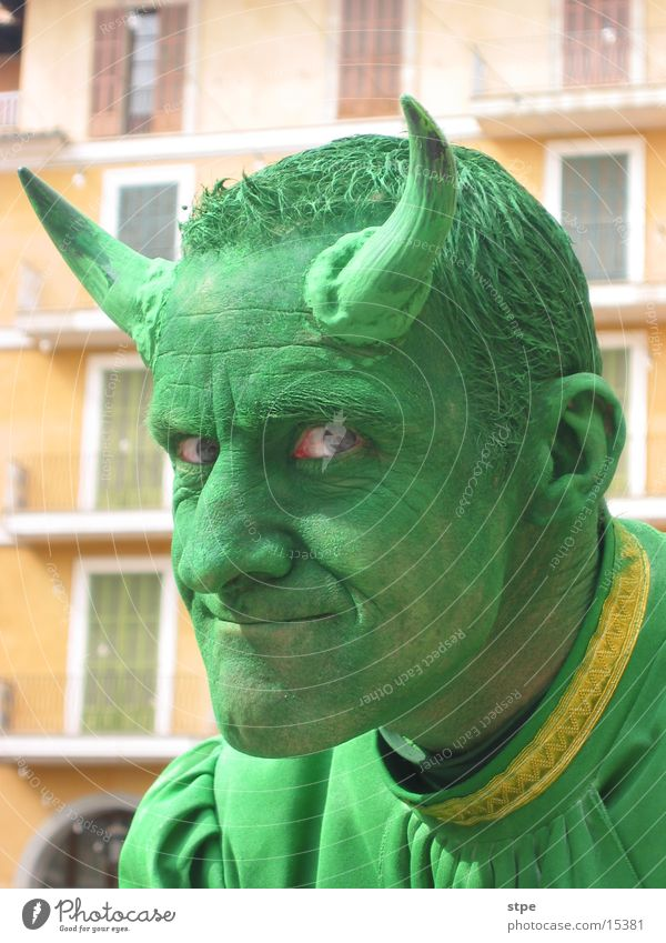 Man Green Face Eyes Mask Carnival Antlers Devil
