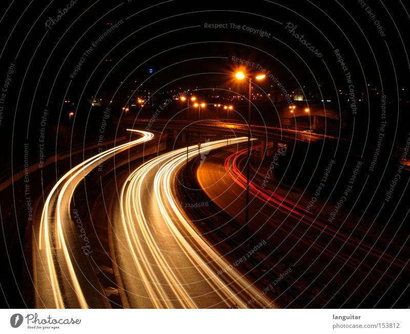 Red Street Dark Car Night Transport Bridge Motor vehicle Highway Curve Vehicle Long exposure Brake light