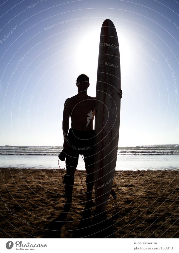 Size Matters! Surfboard Beach Ocean Portugal Back-light Sun Waves Posture Silhouette Joy Fear Panic Sports Playing chilly Surfing