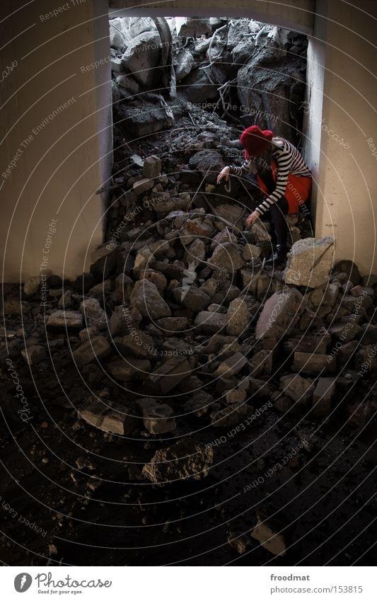Woman Stone Concrete Dangerous Broken Construction site Transience Derelict Hat Skirt Discover Decline Edge Wire Puddle Dismantling
