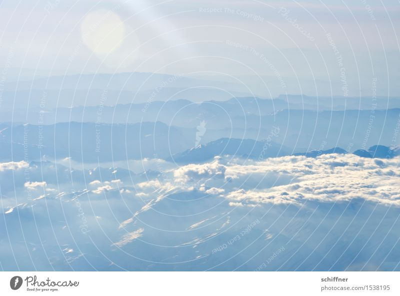 From above so peaceful III Environment Nature Landscape Clouds Sun Winter Beautiful weather Fog Ice Frost Snow Rock Mountain Peak Snowcapped peak Blue White