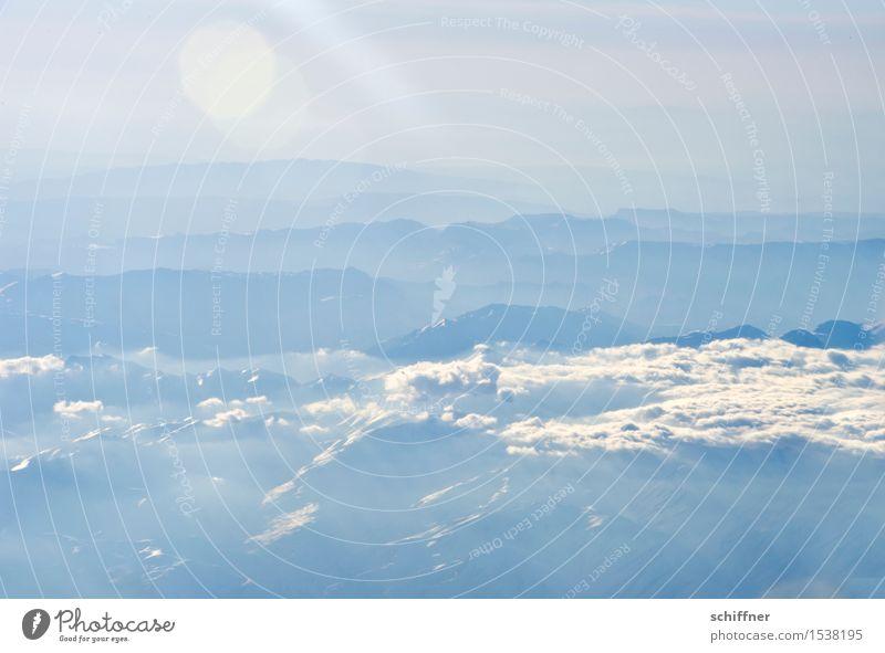 Nature Blue White Sun Landscape Clouds Far-off places Winter Mountain Environment Snow Rock Fog Ice Beautiful weather Peak