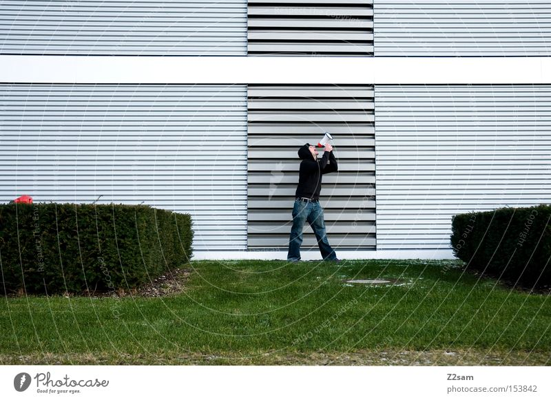 Human being Man Green Winter Loneliness Meadow Architecture Style Metal Communicate Posture Scream Futurism Megaphone