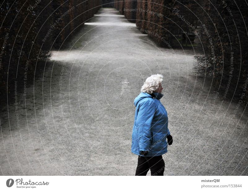 The slightly different picture. Retirement Labyrinth Exit route Senior citizen Retirement pension Winter To go for a walk Blue Anorak Future Perspective