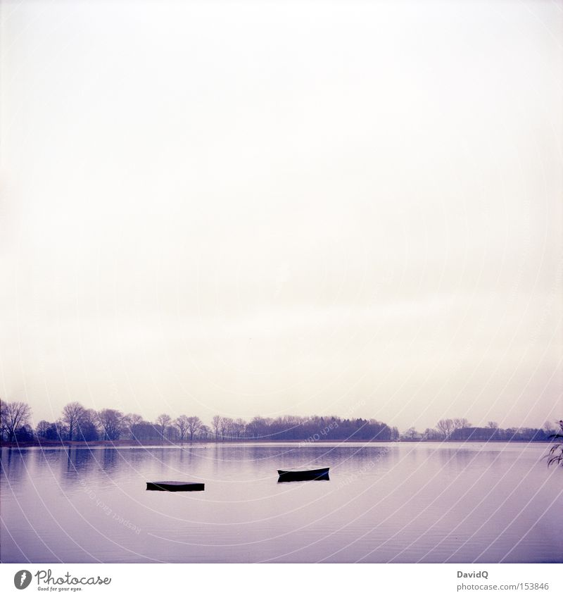 lake Lake Water Body of water Watercraft Motor barge Lakeside Tree Sky Winter Calm Surface of water Lake Rothen yashica