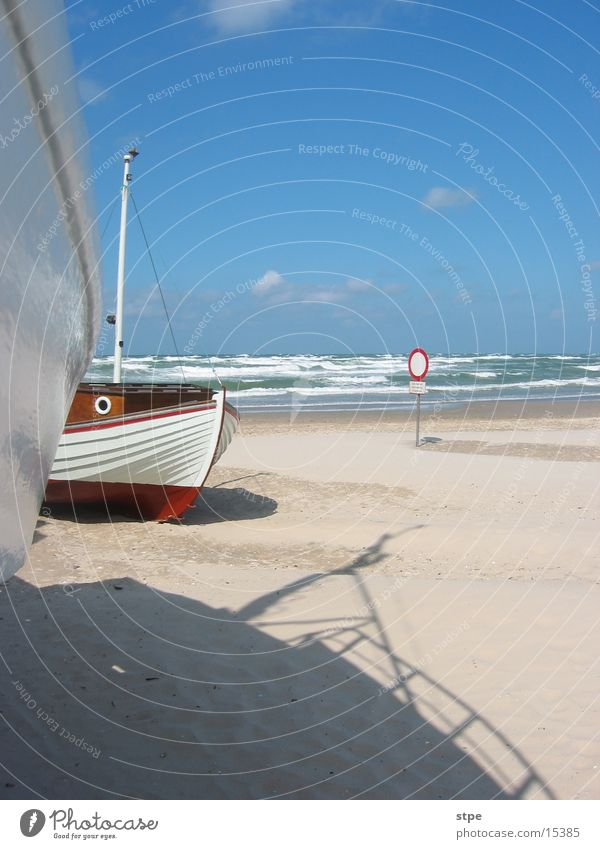 aground Ocean Watercraft Fishing boat Beach North Sea no access Sand Sun Shadow