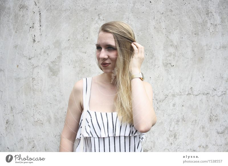 Stripes on concrete. Human being Feminine Young woman Youth (Young adults) Woman Adults Head Hair and hairstyles Face 1 18 - 30 years Wall (barrier)