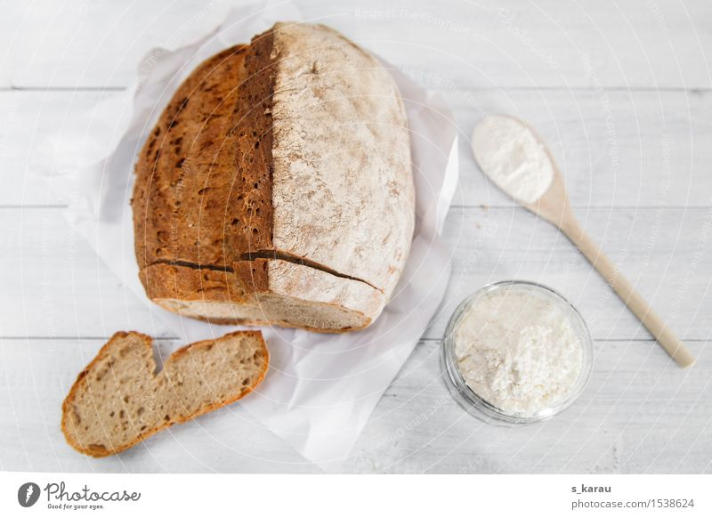 fresh bread Food Grain Dough Baked goods Bread Nutrition Breakfast Spoon Fresh Brown White Considerate Pure Flour Self-made Wheat Colour photo Subdued colour