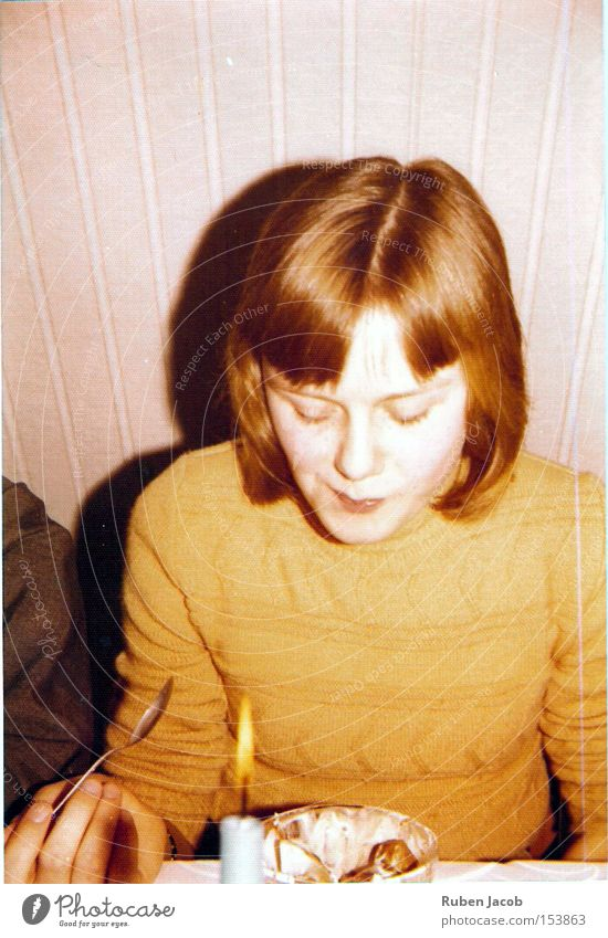 taste test Seventies Old Yellowed Sweater Pallid Feasts & Celebrations Birthday Sense of taste Attempt Ochre Youth (Young adults) young girl