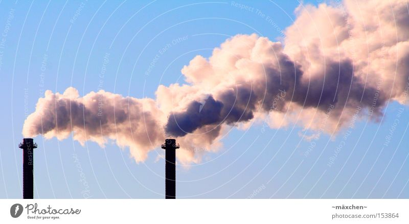 Smoke / global warming Climate change Exhaust gas Tower Industrial Photography Industry Sky Carbon dioxide Environmental pollution Production