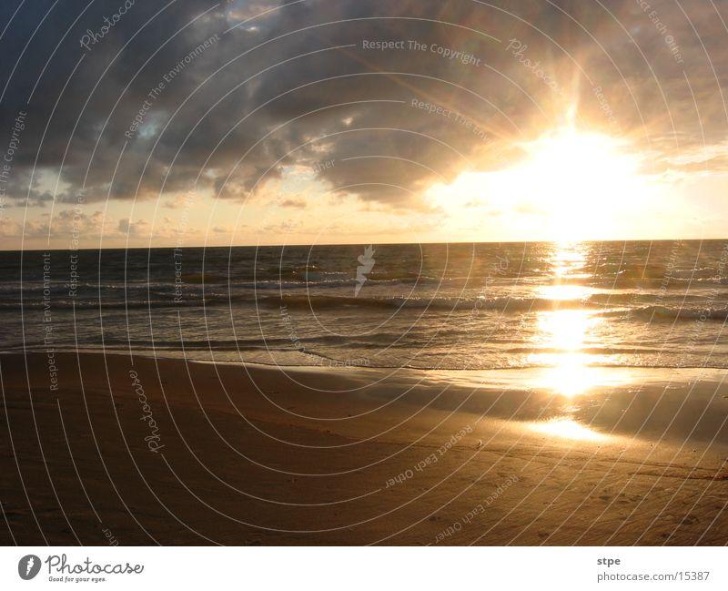 Sunset 1 Ocean Beach Light sunset kelp Sky Water Sand