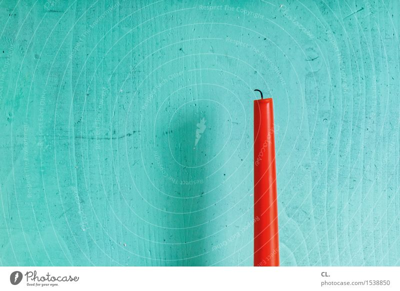 candle Living or residing Flat (apartment) Decoration Candle Candlewick Wood Esthetic Orange Red Turquoise Colour photo Interior shot Deserted Copy Space left