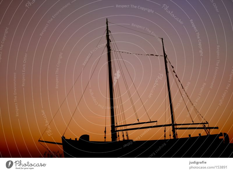 Sky Winter Colour Cold Watercraft Kitsch Harbour Navigation Sailing Electricity pylon Sailboat Maritime Zingst