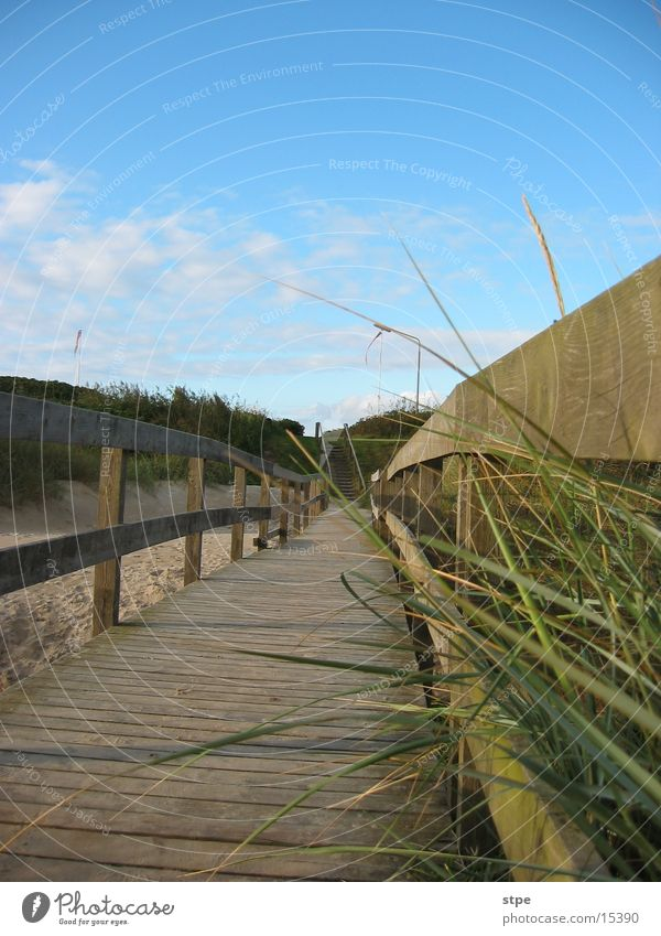 Ocean Footbridge Beach dune North Sea Denmark