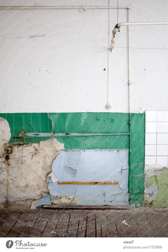 Shower Shower (Installation) Wash tub Bathroom Clean Drape Rod Old Broken Forget Plaster Tile Hallway Wooden floor Detail Derelict