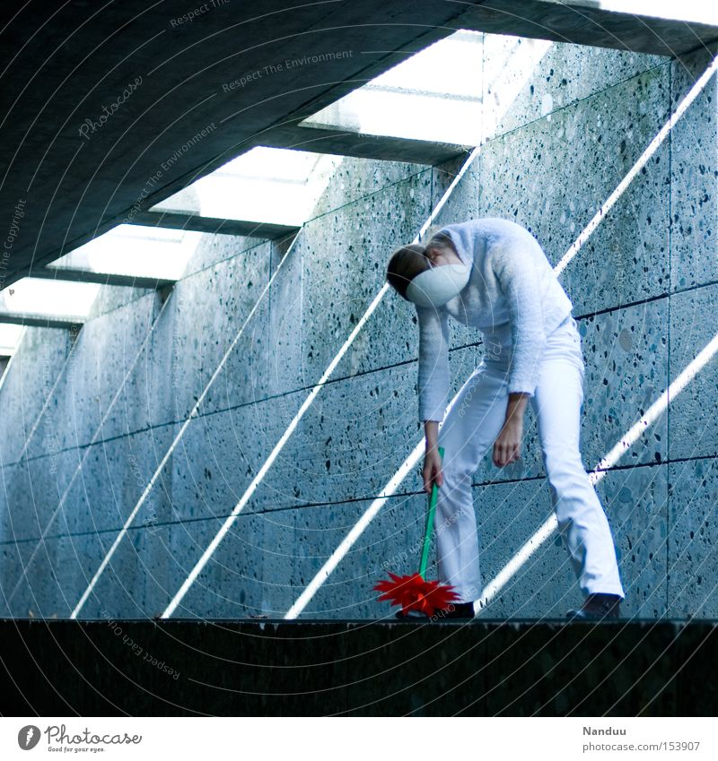 Human being White Flower Cold Relaxation Gray Concrete Empty Broken Peace Mask Transience To hold on Tunnel Whimsical Peaceful